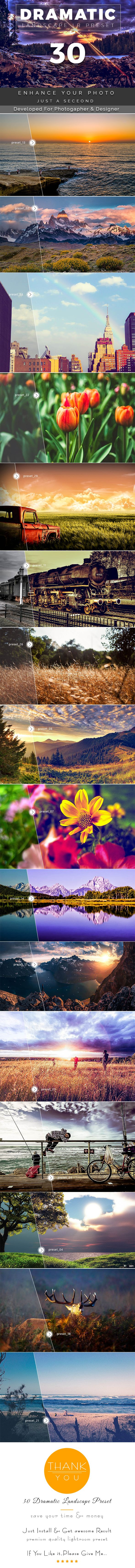 30 Dramatic Landscape Preset by FabioDesign_Lab 30 Dramatic Landscape Preset This pack is very creative lightroom pack. Every preset work properly. No destroy preset included in