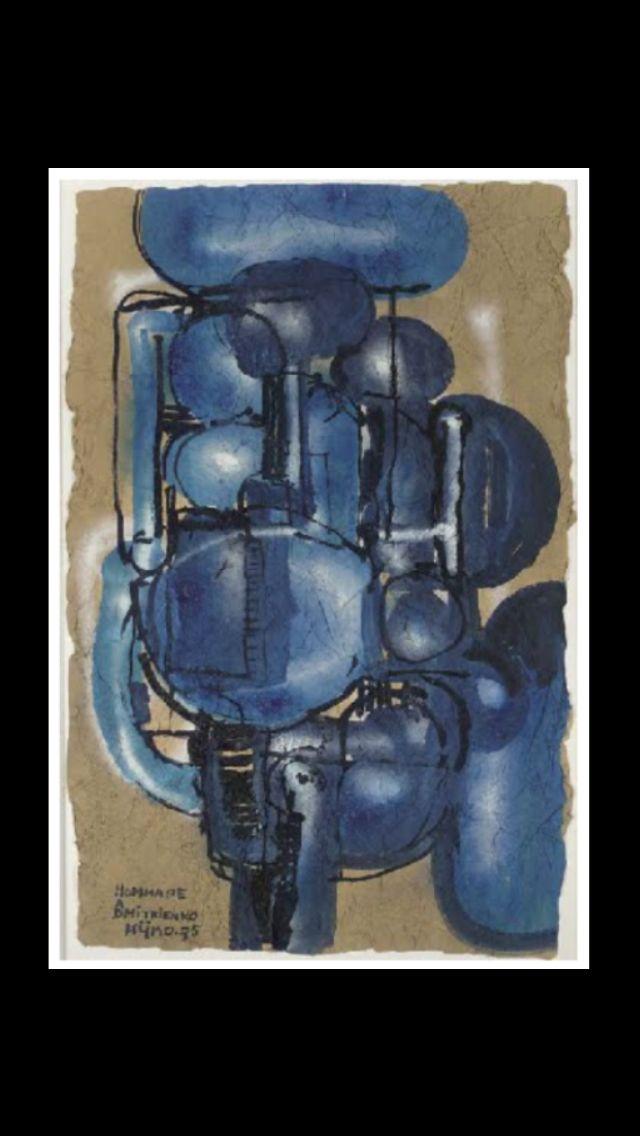 """Ladislas Kijno - """" Hommage à Dmitrienko """", 1975 - Acrylique sur papier froissé - 104,5 x 67 cm"""