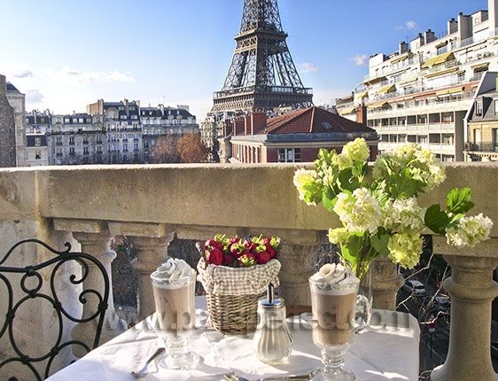 Balcony view of the Eiffel Tower