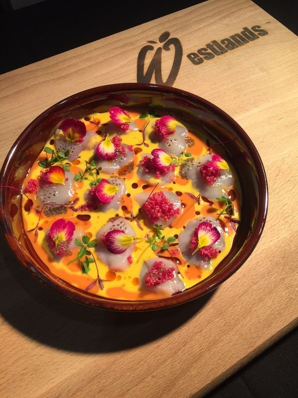 Scallops tiradito, yellow chilli, kiwicha and red amaranth recipe by professional chef Robert Ortiz, Lima London