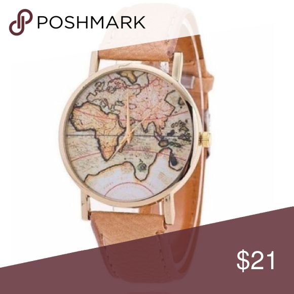Travelers Map Watch Tan band with Map face. Adorable fit the traveler in you! Delightful Vibes Co. Accessories Watches