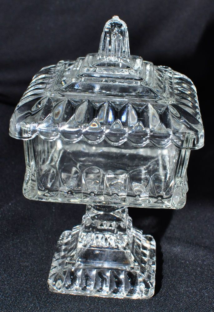 Details about Jeanette Clear Glass Covered Pedestal Candy ...