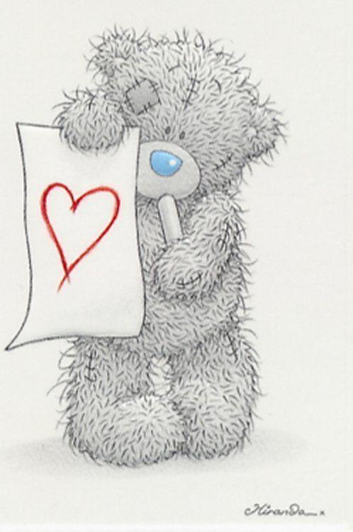 Картинки карандашом мишки тедди с сердечками
