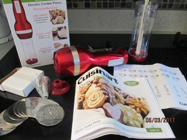 Cuisinart Electric Cookie Press RED 12 Discs 8 Tips Metallic Series EUC w/Box