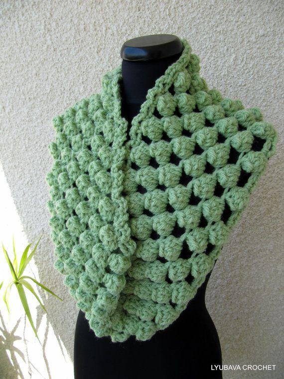 Crochet Pattern Chunky Infinity Crochet Scarf Chunky Popcorn Stitch ...