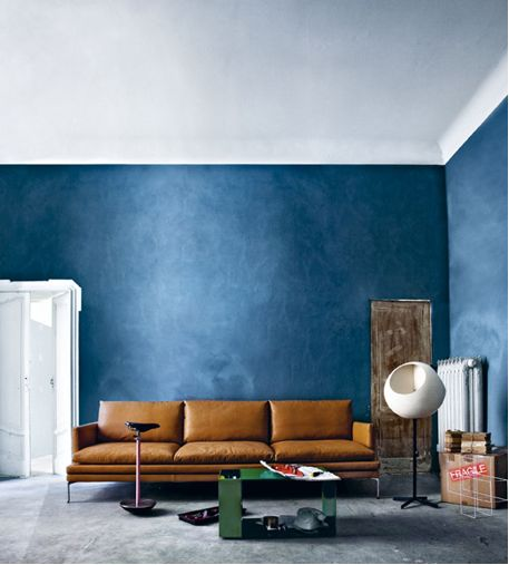 The Blue Color Wash On Walls Is Pretty. Color Scheme With Caramel Sofa In  Blue And Grey Room