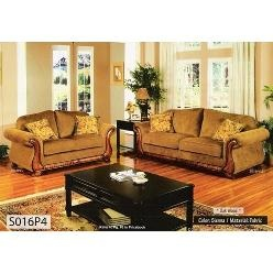 LINE 150 SOFA & LOVE SEAT SET- SCROLL ARMS W/ EXPOSED OAK WOOD ON ARMS AND BASE
