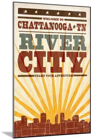 f3c61f5ee Chattanooga, Tennessee - Skyline and Sunburst Screenprint Style-Lantern  Press-Mounted Premium Giclee Print
