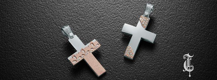 σταυροί βάπτισης, βαπτιστικοί σταυροί Τριάντος, gold crosses jewelry, κωδικοί προϊόντος από αριστερά : 1.1.1255 και 1.2.1123