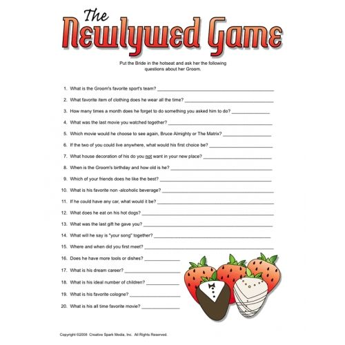 The newlywed game free bridal shower games events for Non traditional bridal shower games