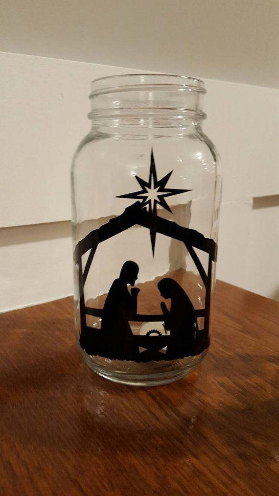 Vinyl Nativity Scene Mason Jar Nativity by UpstairsOriginals