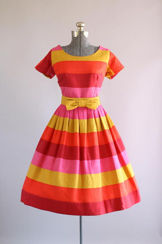 Vintage 1950s Beryle of California Striped Dress w/ Bow Belt L