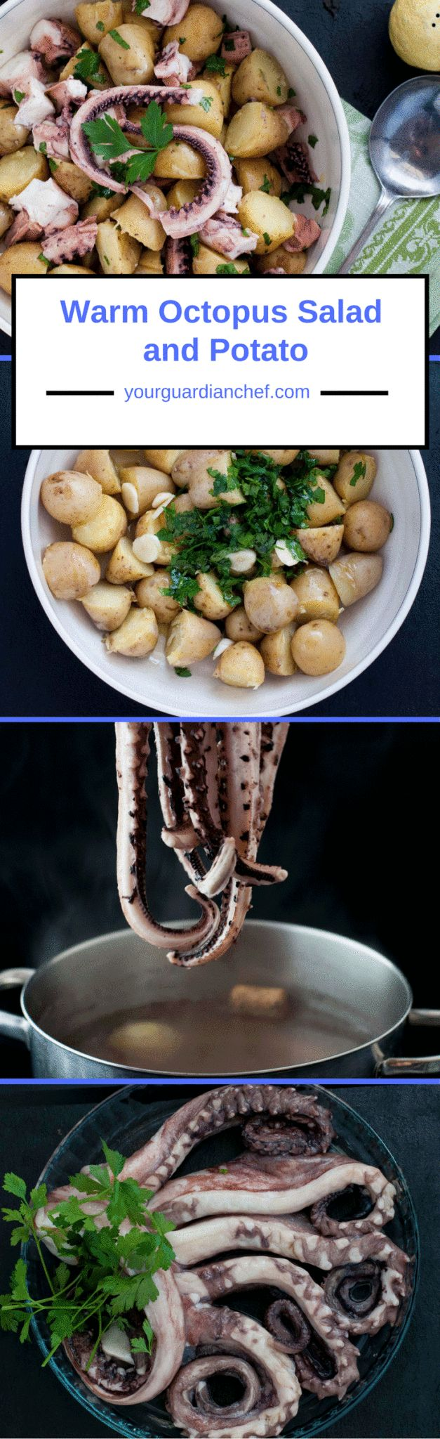 Warm octopus salad with warm potatoes is a very common starter served at restaurants here in the Cote d'Azur. It is very easy to male at home - Your Guardian Chef #octopus #salad #seafood #starter #Italian