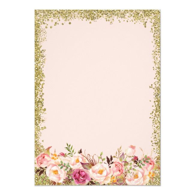 Create Your Own Invitation Zazzle Com Pink And Gold Invitations Floral Invitation Floral Bridal Shower Invitations