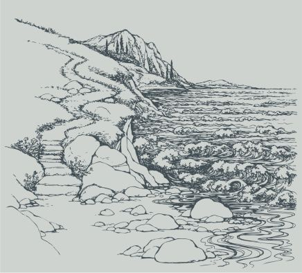 vector-seascape-steps-to-rocky-shore-vector-id177481558