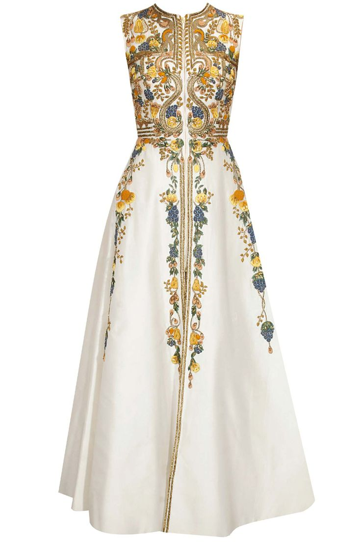 SAMANT CHAUHAN Ivory thread and zari embroidered gown with ivory detachable cape available only at Pernia's Pop Up Shop.