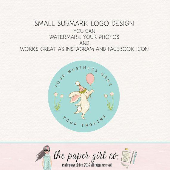 bunny logo design rabbit logo design baby by ThePaperGirlCo