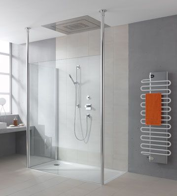 Heated towle rack with orange towel a must.