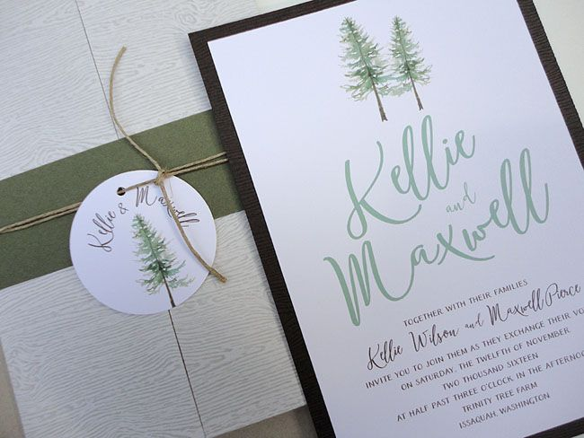 pine tree wedding invitation by Nooney Art Designs  #woodlandwedding