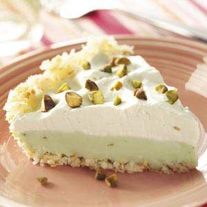 Coconut Pistachio Pie Recipe from Taste of Home Toasted coconut crust and pudding so easy and yummy!