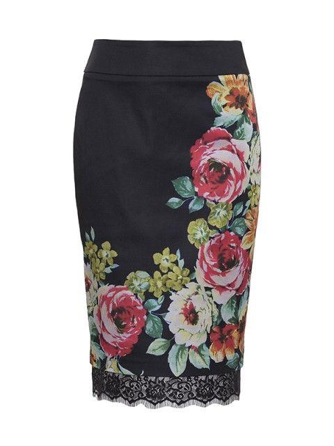 Sicilian Rose Pencil Skirt