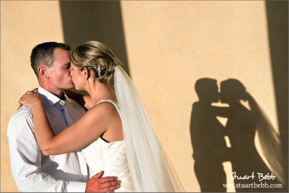 Shadow of bride and groom at Stowe wedding