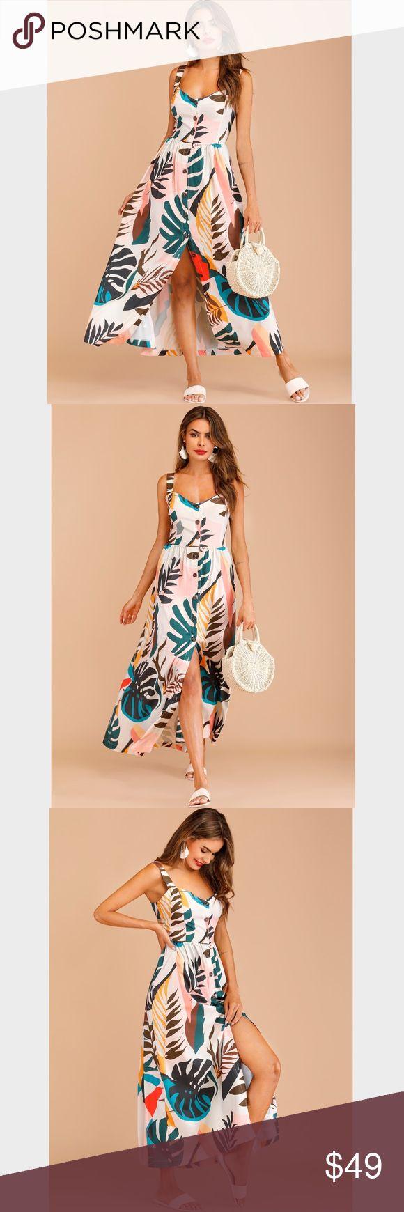 Buttoned Leaf Floral Print Maxi Sleeveless Dress Boho summer dress! Functional b…