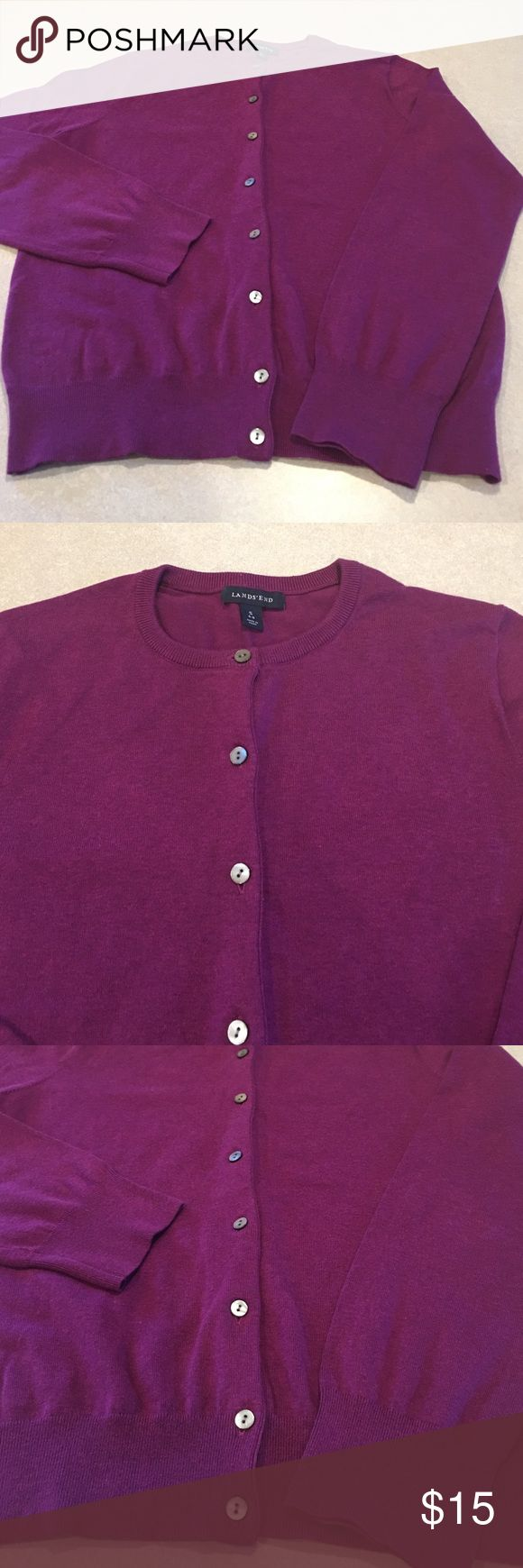 ✨Lands end cardigan✨ Very cute lands ends plum colored cardigan. Buttons down the front. In excellent condition. Lands' End Tops