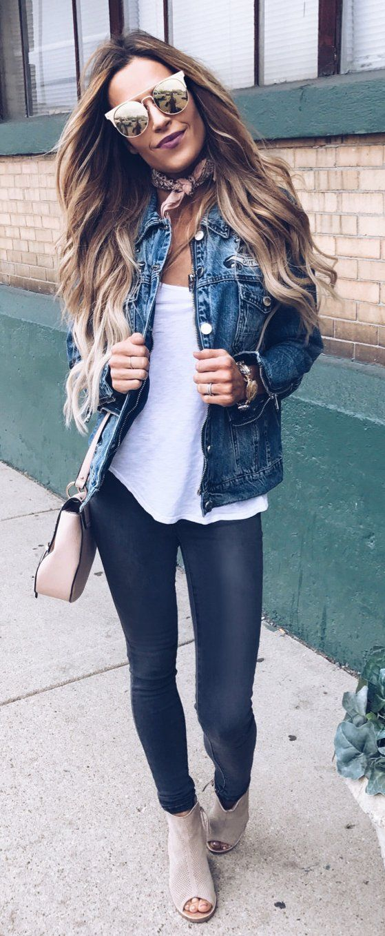 Denim Jacket & White Top & Black Leggings & Beige Open Toe Booties