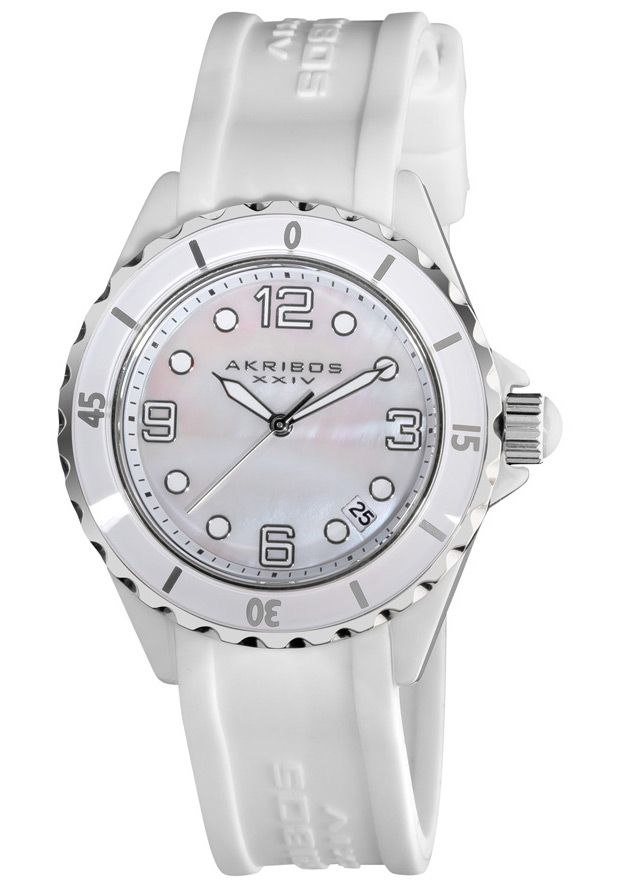 Price:$87.86 #watches Akribos XXIV AK502WT, This Akribos XXIV quartz timepiece has the look and feel of luxury with its ceramic case and rubber strap. The Mother of pearl dial and reliable quartz movement add to the exclusivity of this watch.