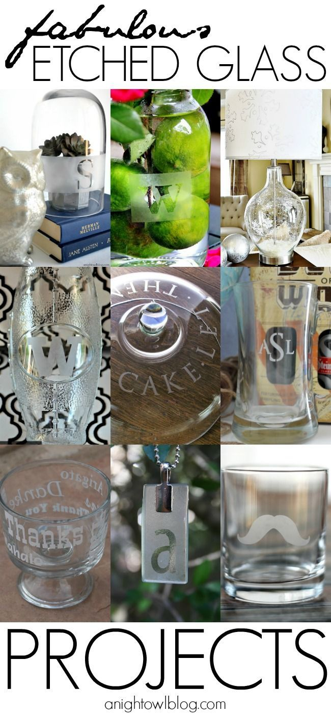 Silhouette Glass Etching Kit Projects - a round up of some of some of the best etched glass projects!