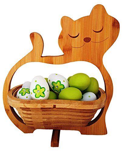 CleanPrince Faltkorb Katze Cat, wunderschöner Klappkorb Bamboo 30 x 30 cm aus Bambusholz Faltkorb Holzkorb Korb Schale aus Bambus Obstkorb Dekoschale Obstschale Holz faltbar Gemüseschale Obstteller, ideal auch als Untersetzer für Töpfe, Pfannen etc. durch die Falttechnik, platzsparende Aufbewahrung im zusammengeklappten Zustand, Bambuskorb Osterkorb -nest -körbchen -nestchen für Ostereier Herbstkorb Herbstdeko Katzen
