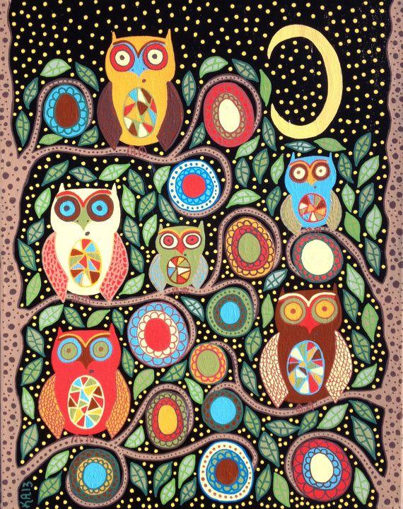 Kerri Ambrosino Art NEEDLEPOINT Mexican Folk Art  Night Guardian Owls Moon Stars Family Flowers on Etsy, $22.99