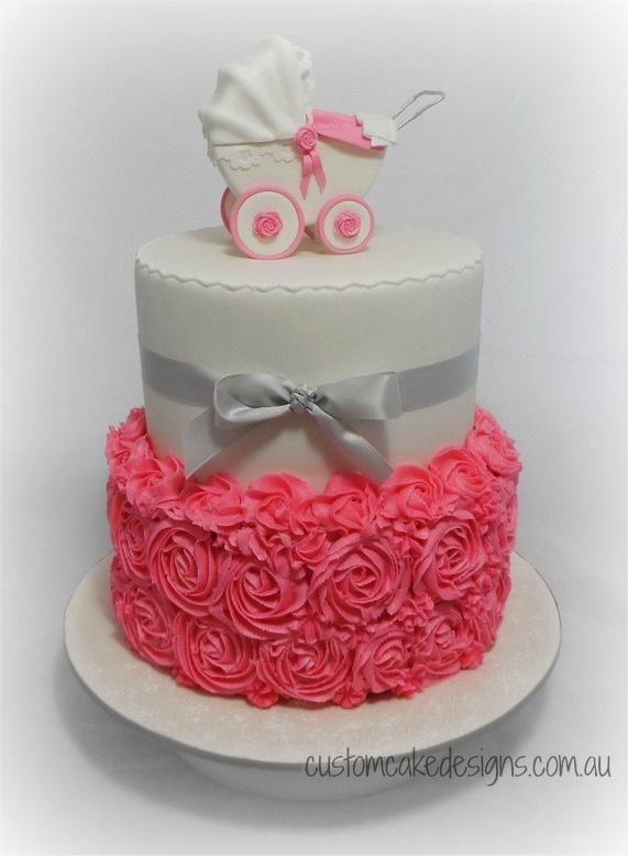 Pink Pram Baby Shower Cake - Cake by Custom Cake Designs