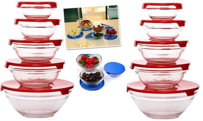 10'lu ( 20 parça ) Cam Saklama Kabı   www.yakalagidiyor.com  Sağlıklı cam ürünler evinizde..