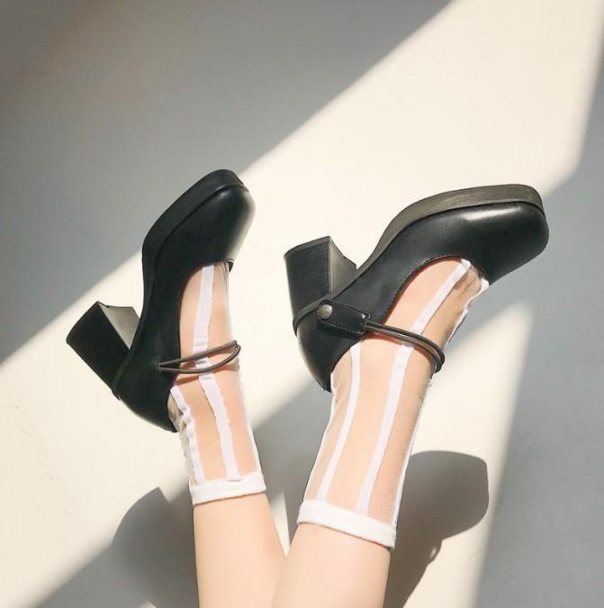 96967eb43e51 Black pu thick heel platform lolita shoes in 2019