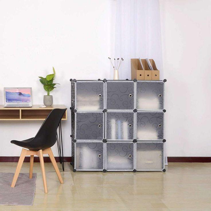 DIY Kleiderschrank mit Tür, 9 Fächer schwarz