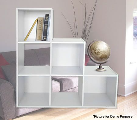 White Cube Shelves Square Cube Storage Unit Ladder Shelf
