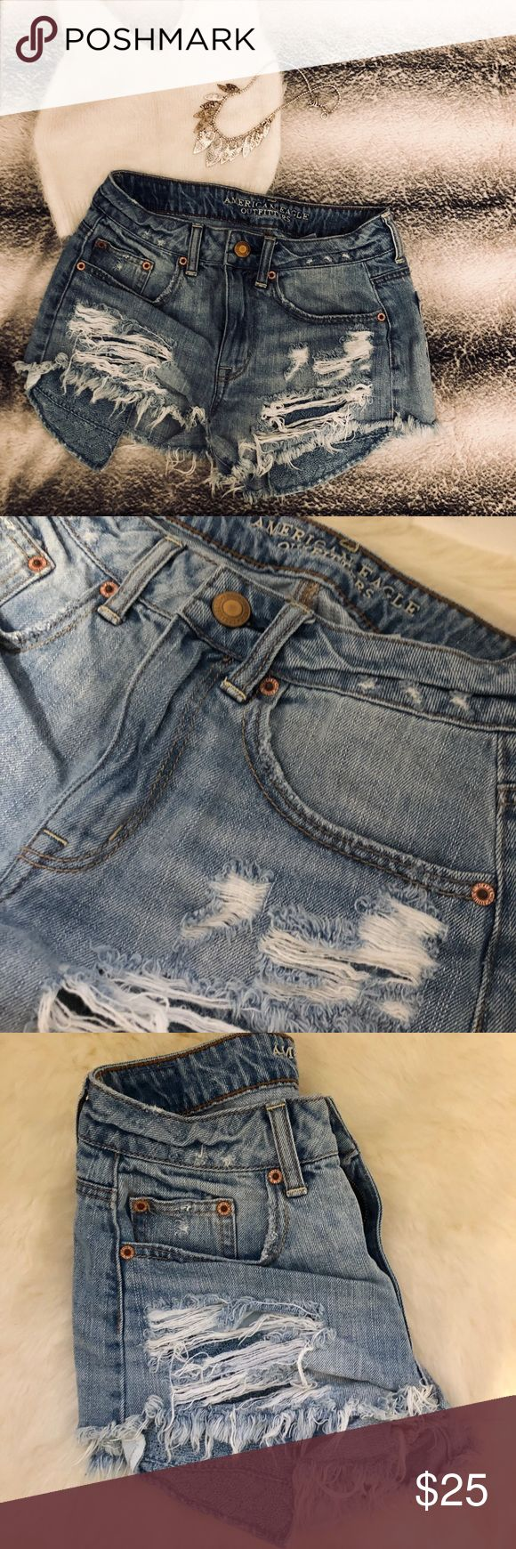 """American Eagle High Rise Jean Shorts Adorable high rise festival ripped jean shorts by American Eagle. Excellent condition. Size 2. Waist measures about 30"""" around. (last photo is not exact shorts, but very similar style from American Eagle). Offers welcome:) American Eagle Outfitters Shorts Jean Shorts"""