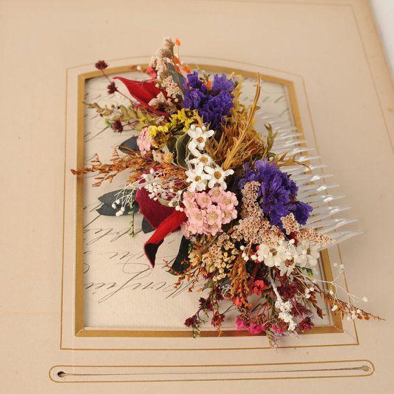 Flower Wedding Hair Piece Rustic Headpiece Dried by VelvetTeacup