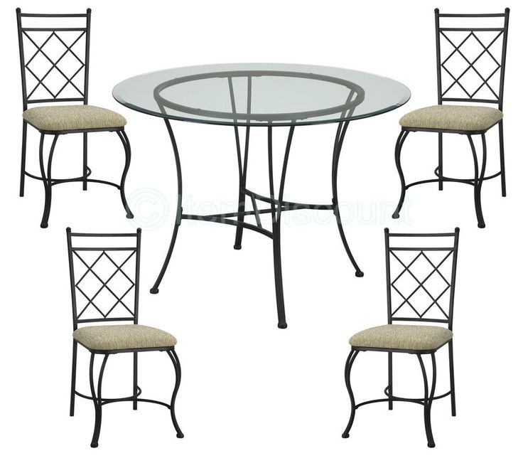 The elegant metal work and the cross-back chair detail adds a sophisticated look to the set. The comfortable seat cushions are nicely upholsetered. The beveled glass top helps the set melt into your home's decor and match it perfectly.Features. | eBay!