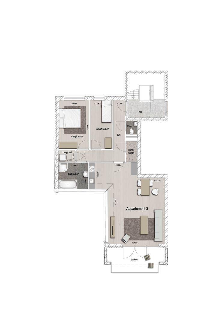 Voorbeeld indeling appartement 3