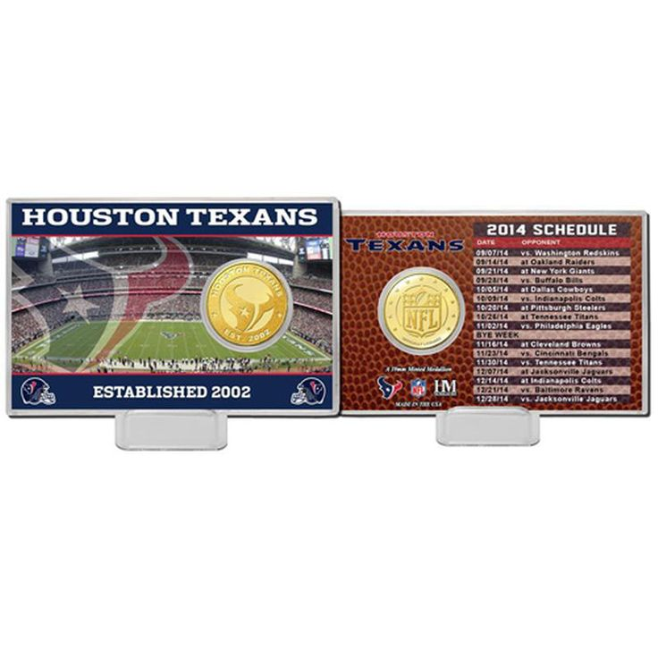 Houston Texans Highland Mint Schedule Coin Card