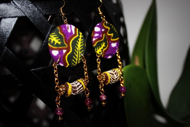 Boucles d'Oreille médaille en tissu africain Wax perle tube africaine