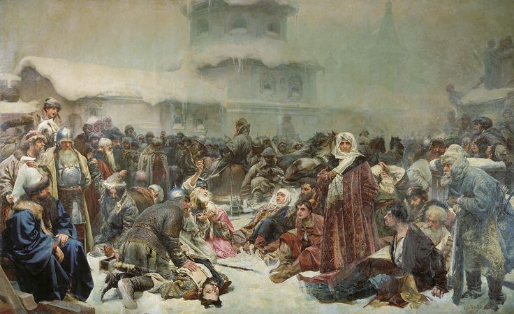 Marfa Boretskaya and the Destruction of Novgorod by painter, Klavdy Vasiliyevich Lebedev. Marfa fought to keep Novgorod from falling to Russia and its lands, wealth and culture being taken. Depicting a romanticized version of the fall of Novgorod in the 15th century.