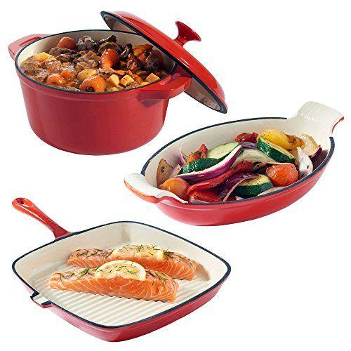 VonShef 3-teilges Kochgeschirr-Set aus Gusseisen mit hitzebst�ndiger Kasserole, Gratinform und Grillpfanne