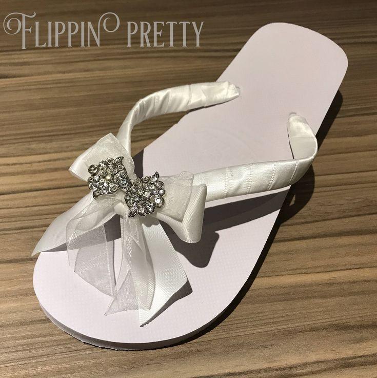 Bow Flip Flop Bridal Bride Shoes Flat Beach Wedding Satin Sandals Diamante Slippers Honeymoon