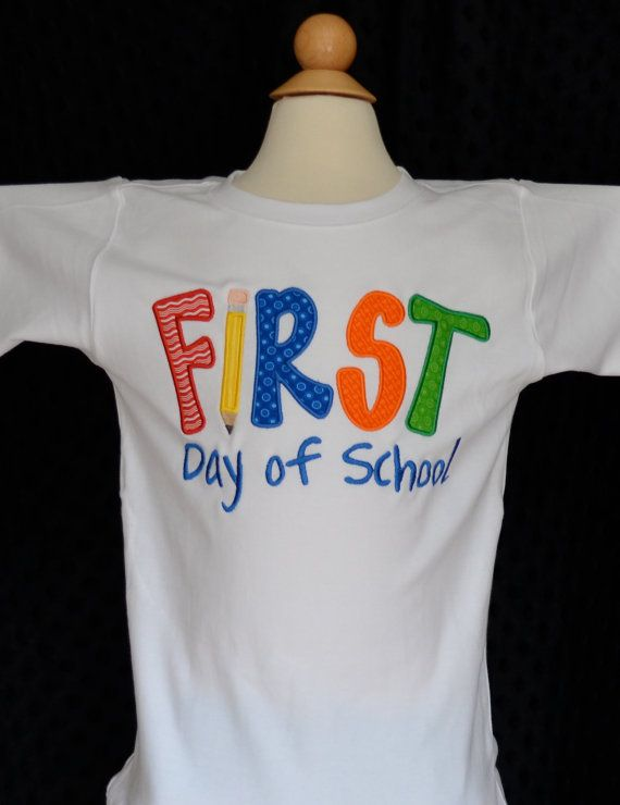 Personalized First Day of School Applique Shirt or Onesie Girl or Boy on Etsy, $25.00