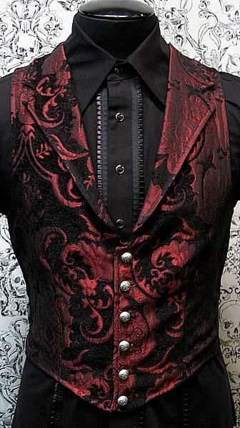 Hamlet would be in the red vest. It is nice enough to be on a prince, and the red hints towards blood and insanity.