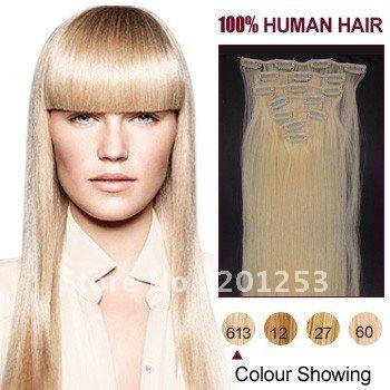 18  горячая распродажа мода клип на наращивание волос 100% индийский реми наращивание волос, 70 г/компл. 7 шт./лот, 613-светлая блондинка # 613, 5 компл./лот
